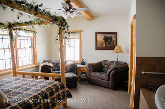 Bear Den Bedroom with Sofa | Second Wind Country Inn, Ashland, WI